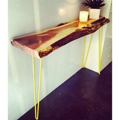 Live Edge Console w/ Yellow Hairpin legs Hairpin Legs, Console, Dining Table, Live, Yellow, Casual, Furniture, Home Decor, Hair Rods