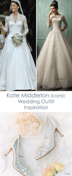 Following the trend of iconic weddings, Kate Middleton's stunning Alexander McQueen classic lace long sleeve wedding dress is one to remember. If you're looking for a more affordable version, Amelia Sposa white tulle and lace wedding dress is to die for. Pair it with the classic and feminine Bella Belle wedding heel, Cora, with embroidered pearl, beads, sequins and floral patterns for a royal chic finish.