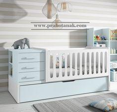 Jual Ranjang Bayi Minimalis Laki Laki Putih Biru Ranjang