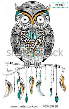 Tribal boho style owl in vector background