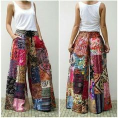 Patchwork wide leg trousers
