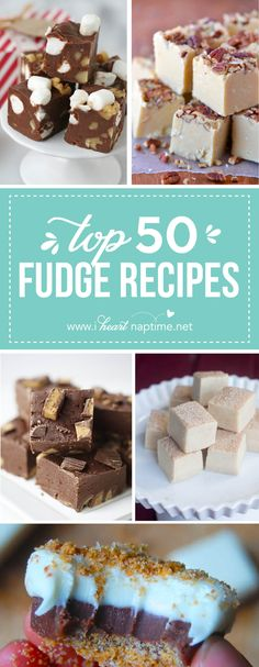 Top 50 Fudge Recipes - a collection of THE BEST fudge recipes. Candy Recipes, Sweet Recipes, Baking Recipes, Cookie Recipes, Dessert Recipes, Just Desserts, Delicious Desserts, Yummy Food, Holiday Baking