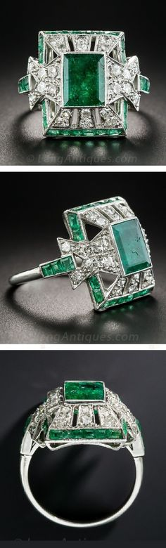 Beautiful Diamond and Emerald ring