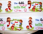 1'' -  25 mm Jesus Loves Me & The Bible Tells Me So...... Grosgrain Ribbon