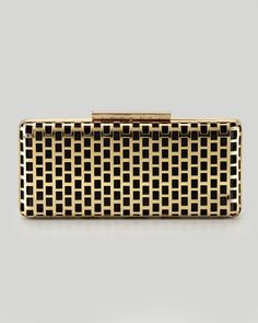 BCBG Minna Cage Clutch Bag, Gold - Neiman Marcus pinned with Bazaart