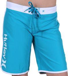 "Hurley Supersuede Solid 9"" Beachrider Boardshorts - peacock blue - Women's > Women's Swimwear > Women's Boardshorts"