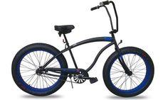 Micargi SLUGO B Series FAT TIRE Beach Cruiser Bike, Matte Black with Blue Rims. Fat Tire Bikes are SMOKIN' HOT right now and you'll own one of the finest rides around when you purchase the Micargi SLUGO! On Sale at ebay for $349.99 deliverd #Micargi #MicargiBikes #MicargiSlugo #dealarue