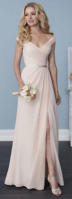 Gorgeous Champagne Chiffon Bridesmaid Dress,Off The Shoulder Bridesmaid Dress,V-Neck Prom Dress,Floor Length Dress