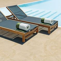 Ethimo Sand Teak Sunbed & Dove Grey | Houseology