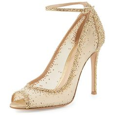 """Gemma crystal peep-toe ankle-strap pump by Gianvito Rossi. Gianvito Rossi sheer mesh and leather pump with degrade crystals set throughout. 4. 3"""" covered he..."""