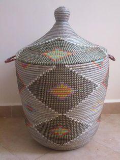 alibaba moroccan style laundry basket kasbah hamper in black and grey exclusive