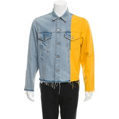 Pre-owned Off-White Levis Made & Crafted Denim Jacket ($895) ❤ liked on Polyvore featuring men's fashion, men's clothing, men's outerwear, men's jackets, blue, mens jean jackets, mens distressed denim jacket, mens blue jean jacket and mens jackets
