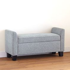 World Market Sonata Storage Bench - LOVE this. (even better in store, and less blue in person) For the Master Bedroom