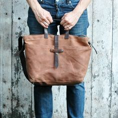 Waxed Canvas Tote Autumn Spice antique military by PegandAwl, $205.00  So cool and my favorite colors!