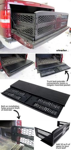 Bed extender adds up to 10 sq ft of storage space to your truck bed! Truck Bed Trailer, Truck Bed Slide, Ford F150 Accessories, Truck Bed Accessories, Lifted Trucks, Chevy Trucks, Pickup Trucks, Big Trucks, Dually Trucks