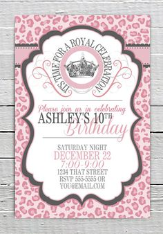 Coupon Code - REPIN10 for 10% off Zebra Pink Cheetah Birthday Invitation Printable Leopard Custom Crown Invite JPG Digital Printable File Animal Print Girls Party Supplies $10.99