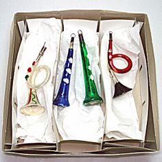 Box 4 Free Blown Germany Glass Horns Christmas Ornaments
