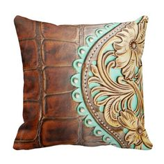 Tooled Chap Design on Alligator Leather Look Throw Pillows
