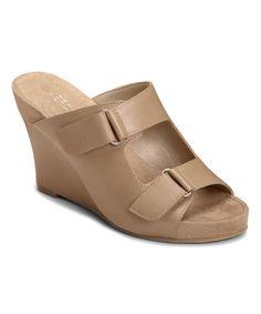 Look what I found on #zulily! Aerosoles Bone Berry Plush Leather Wedge Sandal by Aerosoles #zulilyfinds