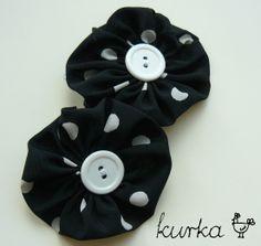spinki handmade by kurka - kwiatki w kropki