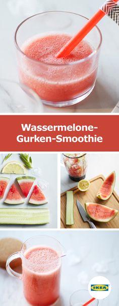 IKEA Deutschland | Wassermelone-Gurken-Smoothie Rezept: In einem Mixer werden folgende Zutaten zu einer glatten Flüssigkeit vermixt: Eine halbe geschälte Wassermelone Eine halbe Gurke, in Stücke geschnitten Eine Handvoll Eis Der Saft einer halben Zitrone 50 ml Aloe-vera-Saft