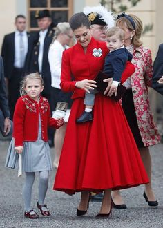 (L-R) Princess Estelle, Duchess of Ostergotland, Victoria, Crown Princess of Sweden and Prince Oscar, Duke of Skane leave the chapel after the christening of Prince Gabriel of Sweden at Drottningholm Palace Chapel on December 1, 2017 in Stockholm, Sweden.