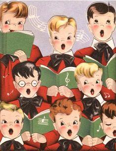 Choirboys at Christmas. Christmas Greeting Cards Images, Vintage Christmas Images, Vintage Greeting Cards, Retro Christmas, Vintage Holiday, Kids Christmas, Holiday Images, Vintage Ephemera, Hallmark Christmas