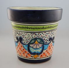 Mexican Ceramic Flower Pot Planter Folk Art Pottery Handmade Talavera # 02