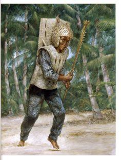I-Kiribati warrior in woven coconut with blowfish helmet and sharktooth club