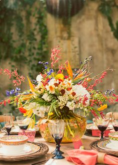 A Lovely Thyme - Mediterranean Tablescape with colorful flowers