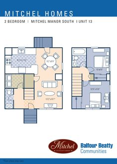 Mitchel Complex – Michel Manor Neighborhood: 2 bedroom townhome floor plan (Unit Type 13).