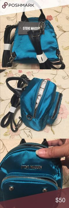 Teal satin Steve Madden Small back or handled purse Bags Backpacks