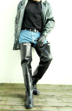 Untitled Big Black Boots, Mackintosh Raincoat, Thigh High Boots Flat, Horse Riding Boots, Leather Boots, Leather Jacket, Wellington Boot, Rain Wear, Cool Boots