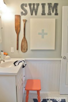Preppy Coastal Bathroom Makeover- DIY Lifeguard Art, Vintage Paddles & Soapstone Letters {City Farmhouse} for the pool house? City Farmhouse, Coastal Farmhouse, Coastal Cottage, Coastal Decor, Coastal Style, Cottage Bath, Coastal Curtains, Coastal Entryway, Coastal Rugs
