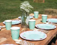 Adorable table setting - teal lace scalloped plates and cups | Shabby Chic Pony Party Hostess Kit by Undercover Hostess