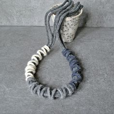 Fiber necklace. Knitted cashmere and crocheted mohair. Fine fiber jewelry by Aliquid