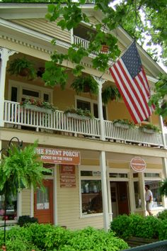 Downtown Dahlonega, Georgia. (Ann Hall and I had lunch on the upper porch a beautiful summer day...always remember looking down on Dahlonega beyond the red geraniums and Old Glory...slj)
