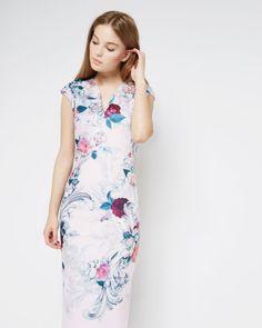 Acanthus Scroll midi dress - Light Pink | Dresses | Ted Baker
