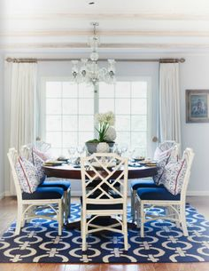 White with navy.  Chinese Chippendale chairs.
