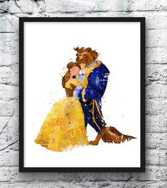 Beauty and the Beast watercolor print featuring Belle in her yellow gown.