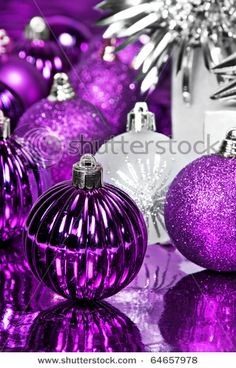 Purple Christmas Decorations Stock Photo (Edit Now) 64657978 Purple Love, Purple Lilac, All Things Purple, Shades Of Purple, Purple Stuff, Purple Sparkle, Purple Christmas Decorations, Christmas Colors, All Things Christmas