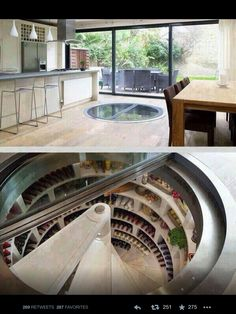 Kitchen with underground wine cellar and fridge!