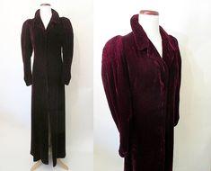 Incredible 1930's Burgundy Silk Velvet Long by wearitagain on Etsy