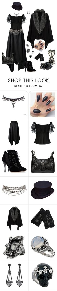 """Untitled #177"" by kat-knowles ❤ liked on Polyvore featuring Yohji Yamamoto, Oh My Corset!, Tabitha Simmons, CO, Pieces, Accessorize, Metropark, Topshop, Alexander McQueen and Hourglass Cosmetics"