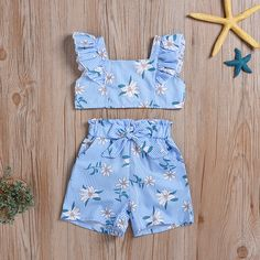 * Tie at waist * Flounced hem * Include: 1 top, 1 shorts * Material: Cotton, Polyester * Machine wash, tumble dry * Imported African Dresses For Kids, Kids Outfits Girls, Toddler Girl Dresses, Toddler Outfits, Girl Outfits, Toddler Girls, Baby Dress Design, Baby Girl Dress Patterns, Baby Girl Fashion