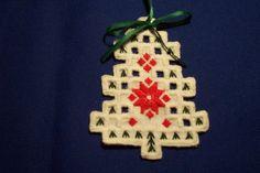 Hardanger Tree Ornament with Green Ribbon | eBay