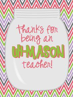 "Mason Jar Teacher Gift Tag - For an ""Uh-Mason"" Teacher! Perfect end of the year gift!"