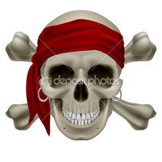 Пиратский череп — стоковая иллюстрация #13884684