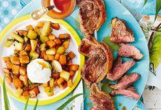 Gegrillter Tafelspitz mit Süßkartoffeln und Ei