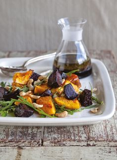 Roast Beetroot and Butternut Salad With Fresh Rocket and Toasted Cashews